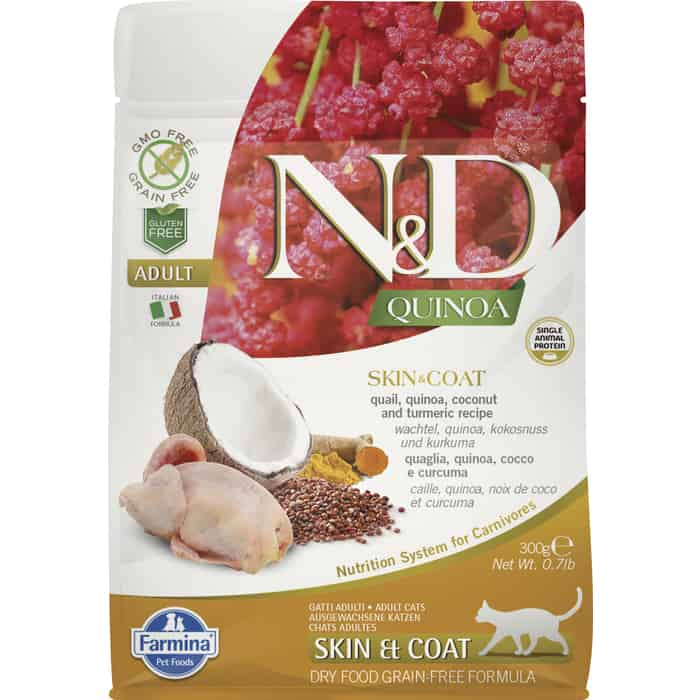 Сухой корм Farmina N&D Cat GF Quinoa Skin & Coat Quail Coconut Turmeric беззерновой с перепелкой киноа кокосом и куркумой для кошек 300г