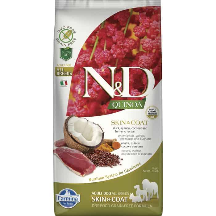 Сухой корм Farmina N&D Dog GF Quinoa Skin & Coat Duck Coconut Turmeric беззерновой с уткой киноа кокосом и куркумой для собак 7кг