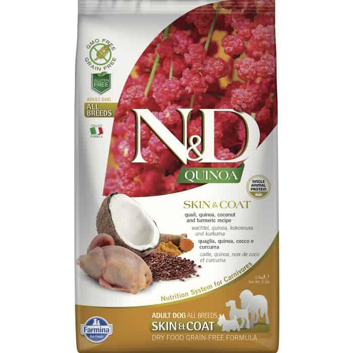 Сухой корм Farmina N&D Dog GF Quinoa Skin & Coat Quail Coconut Turmeric беззерновой с перепелкой киноа кокосом и куркумой для собак 2,5кг