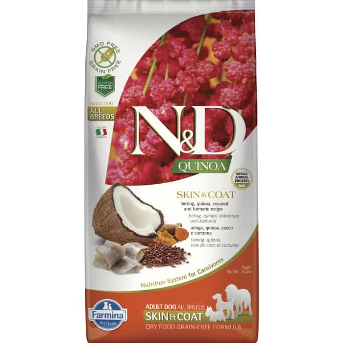 Сухой корм Farmina N&D Dog GF Quinoa Skin & Coat Herring Coconut Turmeric беззерновой с сельдью киноа кокосом и куркумой для собак 7кг