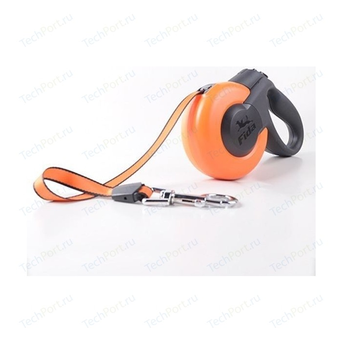 Рулетка Fida Ranger Mars L лента 5м оранжевая/черная для собак до 50кг
