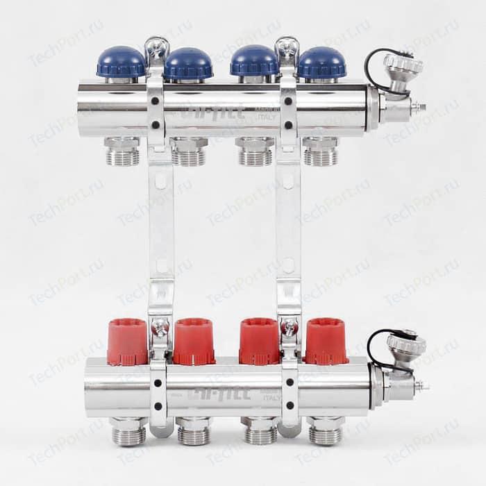 Коллекторная группа Uni-Fitt 1х3/4 4 выходов с регулировочными и термостатическими вентилями (441E4304)