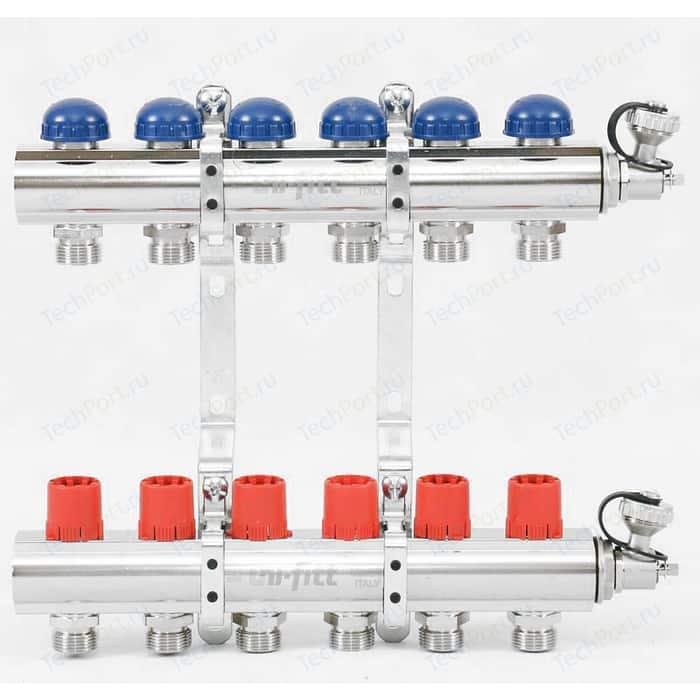 Коллекторная группа Uni-Fitt 1х3/4 6 выходов с регулировочными и термостатическими вентилями (441E4306)