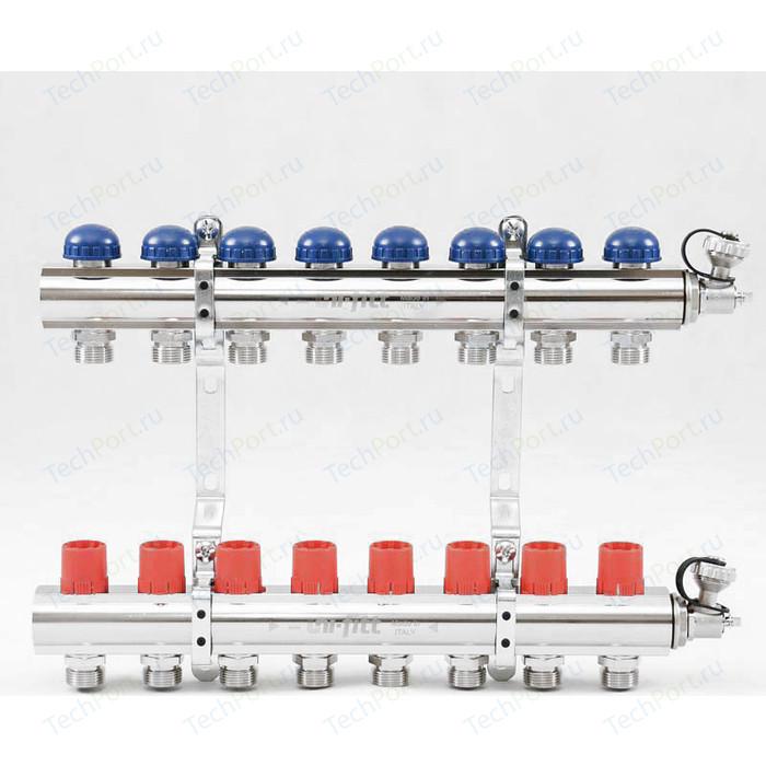 Коллекторная группа Uni-Fitt 1х3/4 8 выходов с регулировочными и термостатическими вентилями (441E4308)