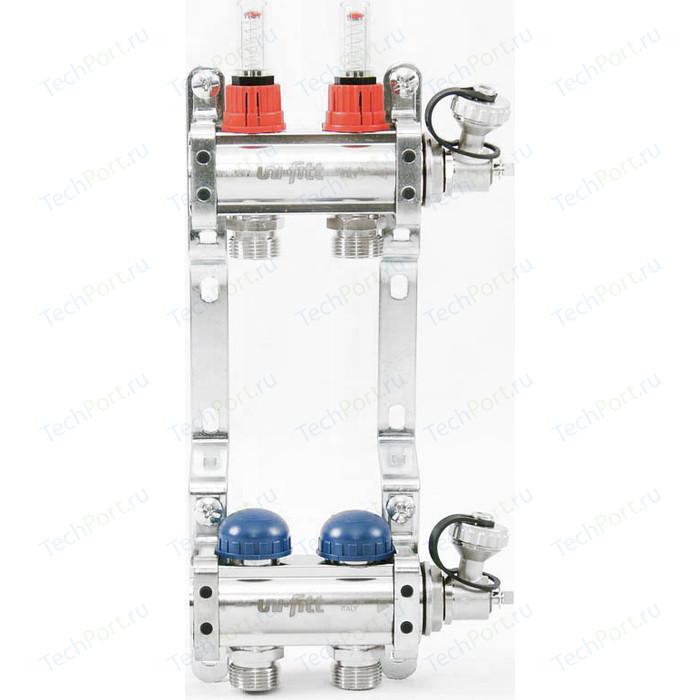 Коллекторная группа Uni-Fitt 1х3/4 2 выходов с расходомерами и термостатическими вентилями (440E4302)