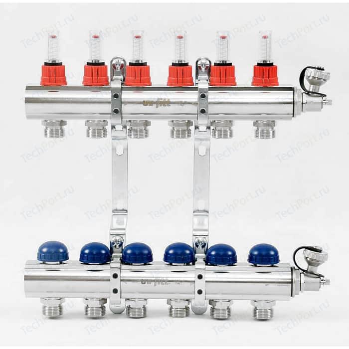 Коллекторная группа Uni-Fitt 1х3/4 6 выходов с расходомерами и термостатическими вентилями (440E4306)