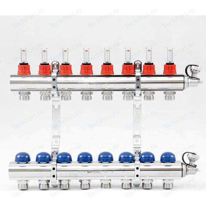 Коллекторная группа Uni-Fitt 1х3/4 8 выходов с расходомерами и термостатическими вентилями (440E4308)
