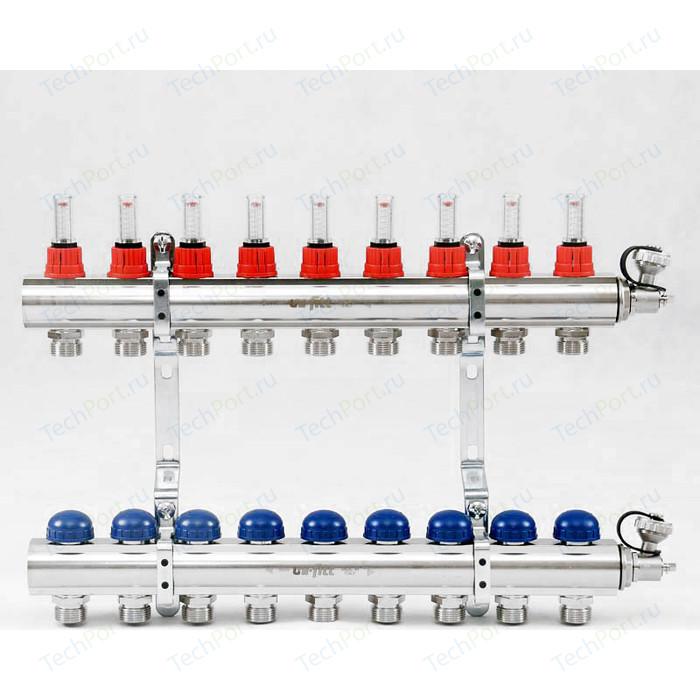 Коллекторная группа Uni-Fitt 1х3/4 9 выходов с расходомерами и термостатическими вентилями (440E4309)
