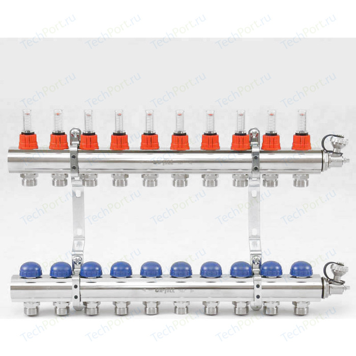 Коллекторная группа Uni-Fitt 1х3/4 10 выходов с расходомерами и термостатическими вентилями (440E4310)