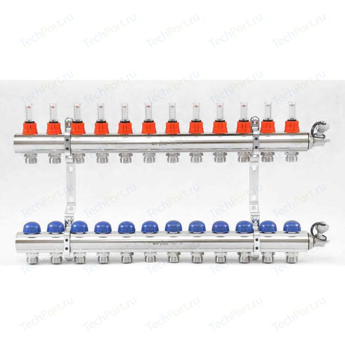 Коллекторная группа Uni-Fitt 1х3/4 12 выходов с расходомерами и термостатическими вентилями (440E4312)