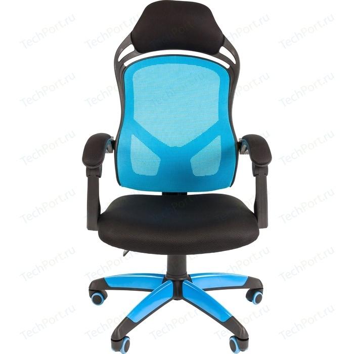 Офисноекресло Chairman game 12 черно-голубой