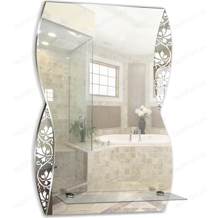 Зеркало Mixline Аква 39,5х60 с полкой, пескоструйный рисунок (4620001983902)