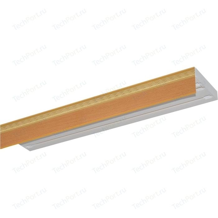Карниз потолочный пластиковый DDA Прямой Греция трехрядный бук 3.8