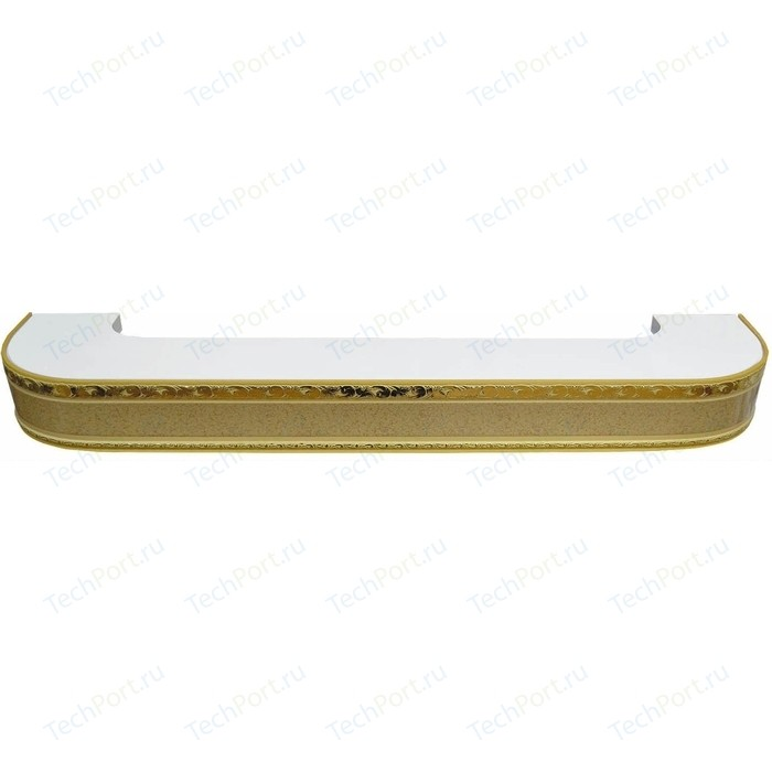 Карниз потолочный пластиковый DDA Поворот Гранд двухрядный песок 3.8