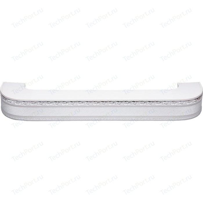 Карниз потолочный пластиковый DDA Поворот Гранд трехрядный серебро 3.6