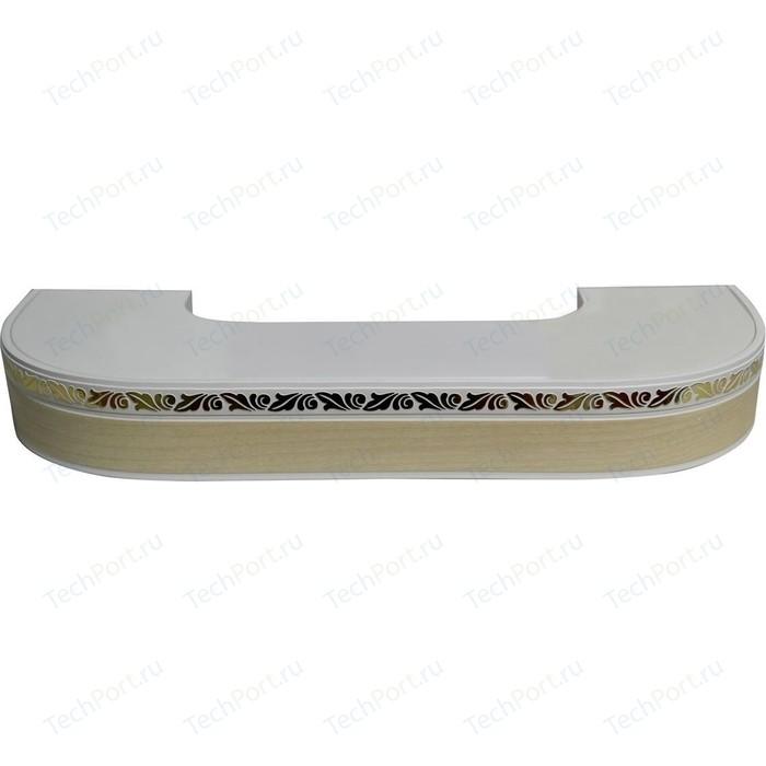 Карниз потолочный пластиковый DDA Поворот Валенсия трехрядный слоновая кость 2.6