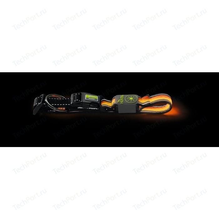 Ошейник Hunter LED Manoa Glow M 50-55/2.5 см оранжевый светящийся для собак