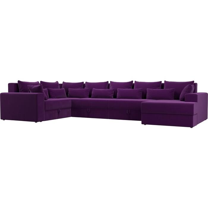 Угловой Диван Мебелико Мэдисон-П левый угол микровельвет фиолетовый