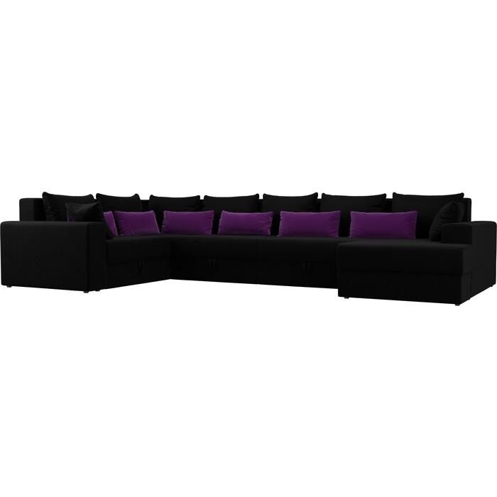 Фото - Угловой Диван АртМебель Мэдисон-П левый угол микровельвет черный черный/фиолетовый диван угловой артмебель николь микровельвет черный фиолетовый левый угол