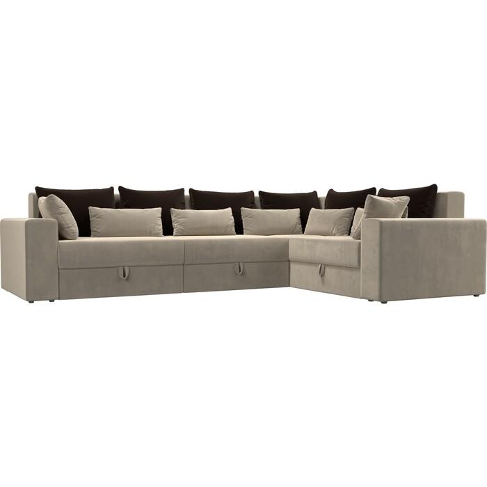 Угловой диван Мебелико Мэдисон Long микровельвет бежевый коричневый/бежевый правый угол