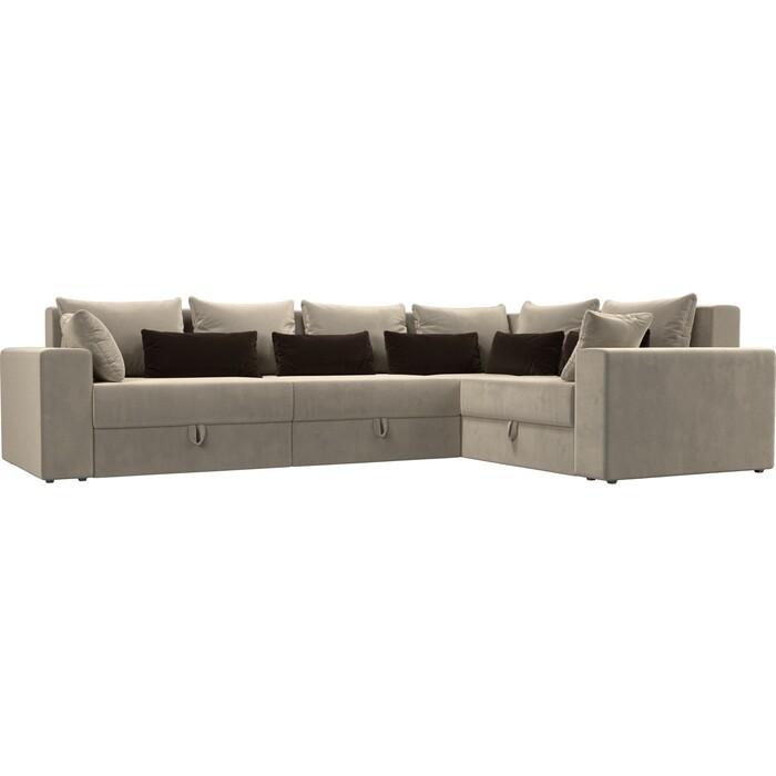 Угловой диван Мебелико Мэдисон Long микровельвет бежевый бежевый/коричневый правый угол