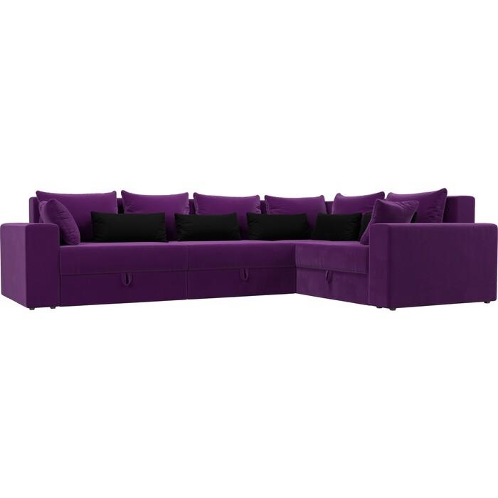 Угловой диван Мебелико Мэдисон Long микровельвет фиолетовый фиолетово/черный правый угол