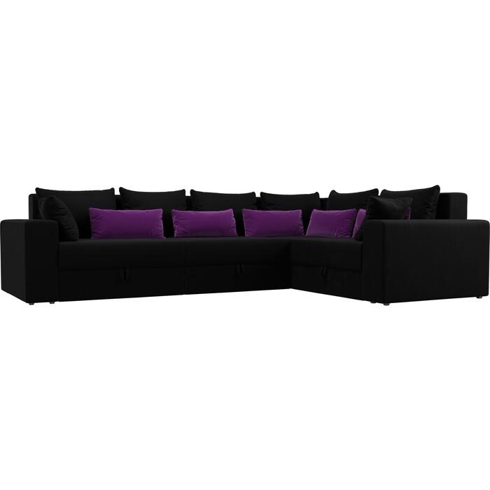 Угловой диван Мебелико Мэдисон Long микровельвет черный черно/фиолетовый правый угол