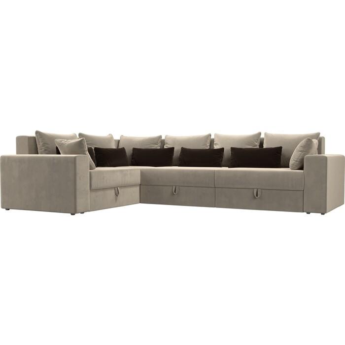 Угловой диван Мебелико Мэдисон Long микровельвет бежевый бежевый/коричневый левый угол