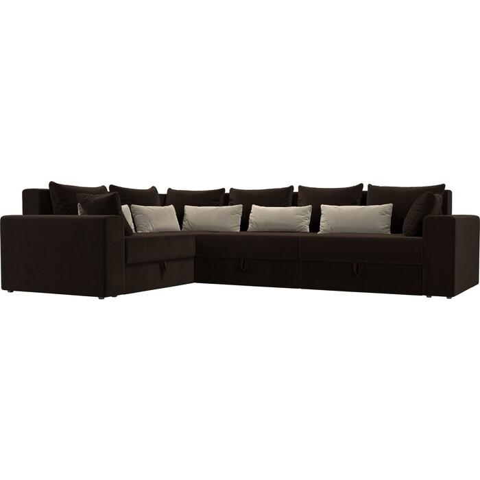 Угловой диван АртМебель Мэдисон Long микровельвет коричневый коричневый/бежевый левый угол