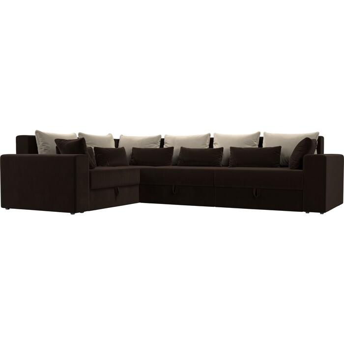 Угловой диван Мебелико Мэдисон Long микровельвет коричневый бежевый/коричневый левый угол