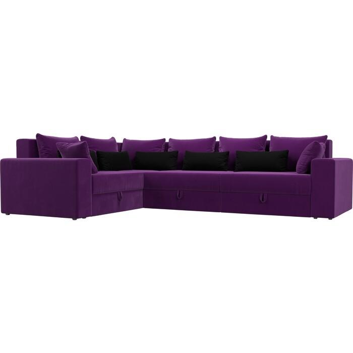 Угловой диван Мебелико Мэдисон Long микровельвет фиолетовый фиолетово/черный левый угол