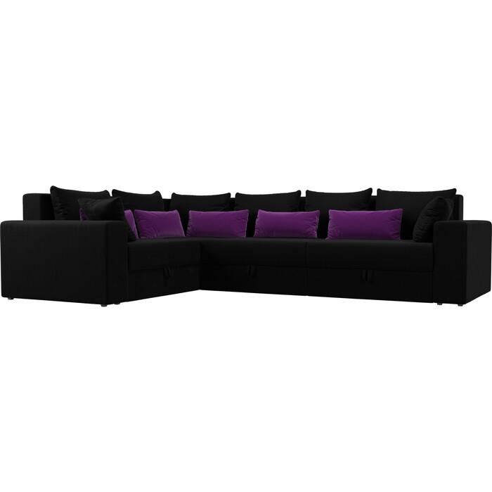 Угловой диван Мебелико Мэдисон Long микровельвет черный черно/фиолетовый левый угол