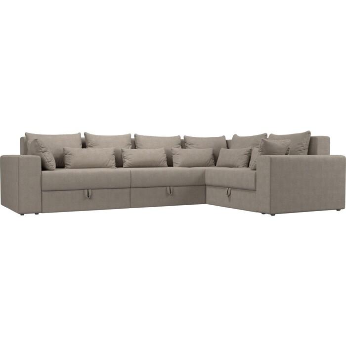 Угловой диван Мебелико Мэдисон Long рогожка бежевый правый угол