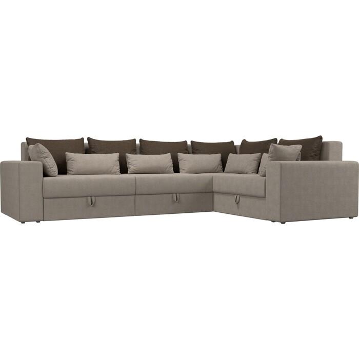 Угловой диван Мебелико Мэдисон Long рогожка бежевый коричневый/бежевый правый угол