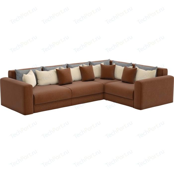 Угловой диван АртМебель Мэдисон Long рогожка коричневый бежевый/серый правый угол
