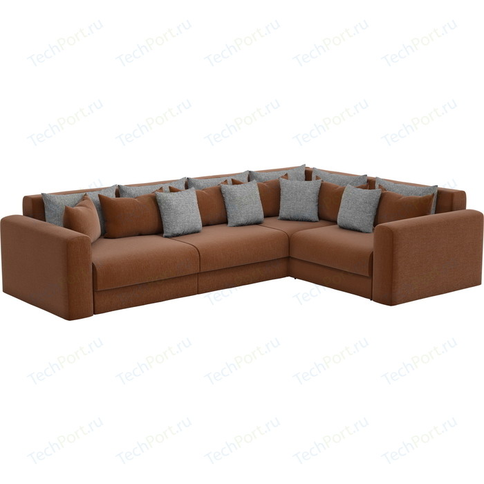 Угловой диван Мебелико Мэдисон Long рогожка коричневый коричневый/серый правый угол
