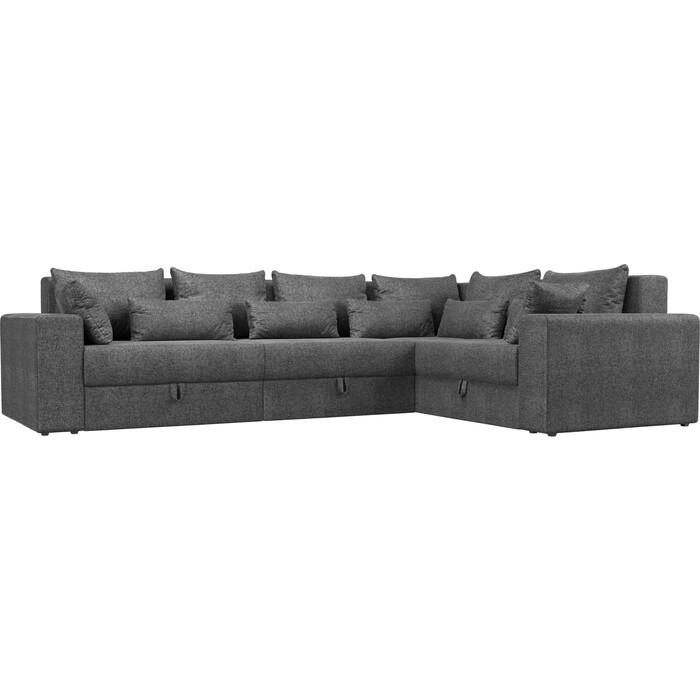 Угловой диван Мебелико Мэдисон Long рогожка серый правый угол