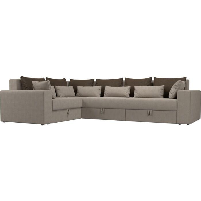 Угловой диван Мебелико Мэдисон Long рогожка бежевый коричневый/бежевый левый угол угловой диван мебелико мэдисон п левый угол рогожка бежевый