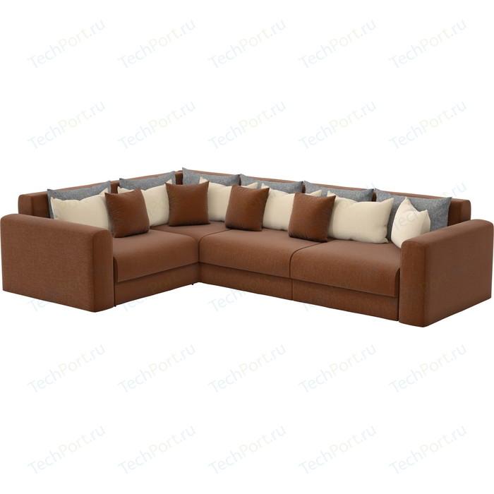 Угловой диван Мебелико Мэдисон Long рогожка коричневый бежевый/серый левый угол угловой диван мебелико мэдисон п левый угол рогожка бежевый