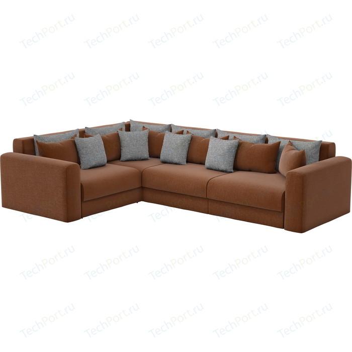 Угловой диван АртМебель Мэдисон Long рогожка коричневый коричневый/серый левый угол
