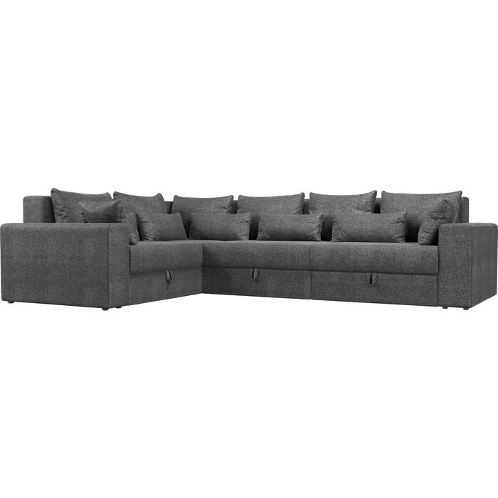 Угловой диван Мебелико Мэдисон Long рогожка серый левый угол