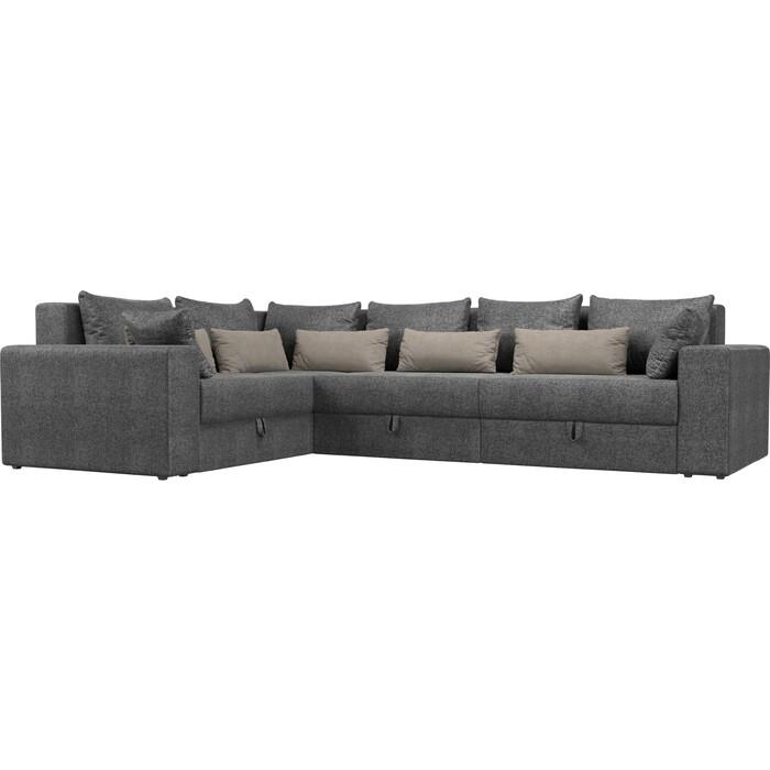 Угловой диван Мебелико Мэдисон Long рогожка серый серый/бежевый левый угол