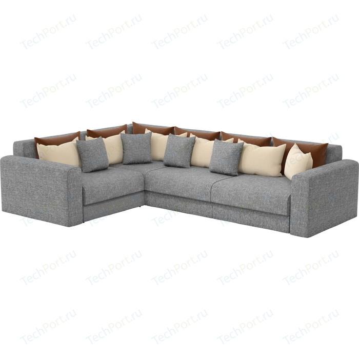 Угловой диван Мебелико Мэдисон Long рогожка серый коричневый/бежевый левый угол угловой диван мебелико мэдисон п левый угол рогожка бежевый