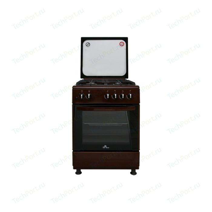 Газовая плита DeLuxe 606040.24-002г (кр) коричневая
