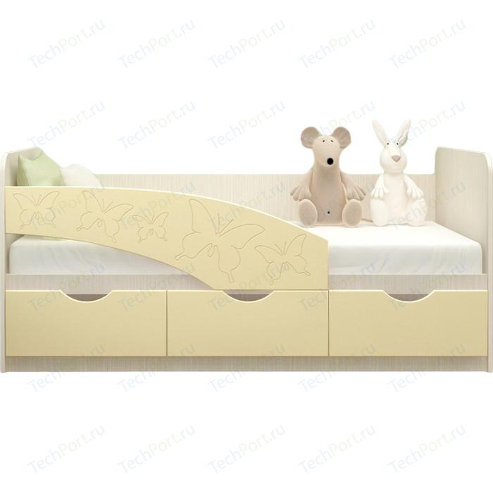 Кровать Миф Бабочки дуб беленый/ваниль ПВХ 2 м