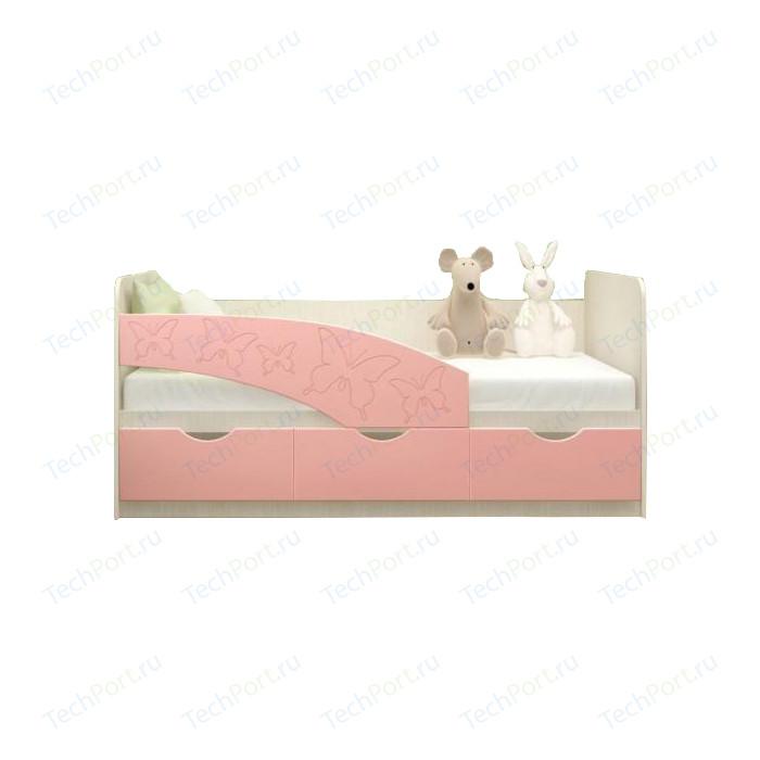Кровать Миф Бабочки дуб беленый/розовый ПВХ 2 м