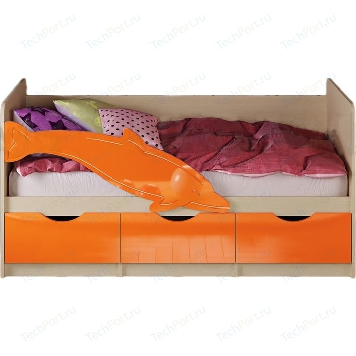 Кровать Миф Дельфин 1 дуб беленый/оранжевый ПВХ 1,6 м