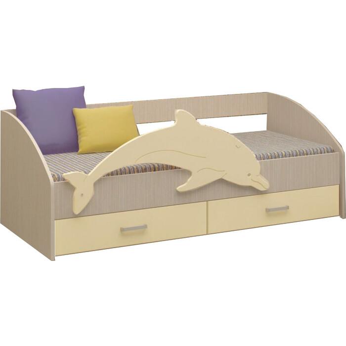 Кровать Регион 58 Дельфин 4 МДФ ваниль/ясень шимо светлый 1,6 м