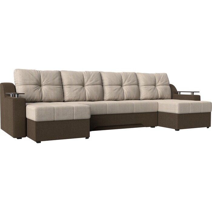 Угловой диван Мебелико Сенатор-П рогожка бежевый/коричневый