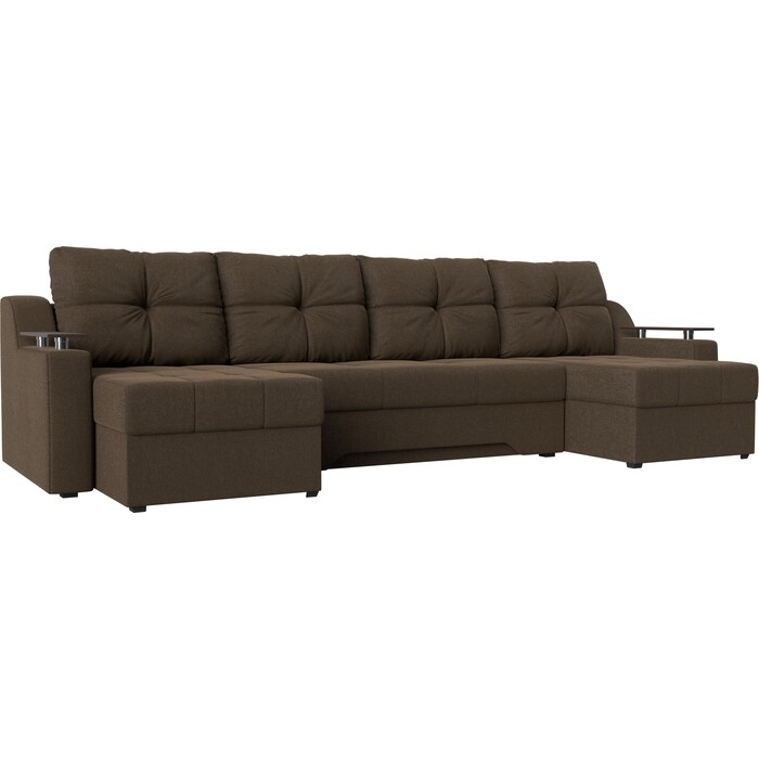 Угловой диван АртМебель Сенатор-П рогожка коричневый